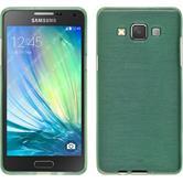 Silikon Hülle Galaxy A3 (A300) brushed grün + 2 Schutzfolien