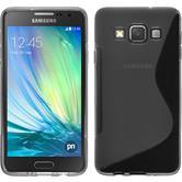Silikon Hülle Galaxy A3 (A300) S-Style grau + 2 Schutzfolien