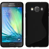 Silikon Hülle Galaxy A3 (A300) S-Style schwarz + 2 Schutzfolien
