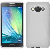 Silikon Hülle Galaxy A3 (A300) S-Style weiß + 2 Schutzfolien