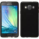 Silikon Hülle Galaxy A3 (A300) transparent schwarz + 2 Schutzfolien