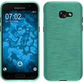 Silikon Hülle Galaxy A5 2017 brushed grün + 2 Schutzfolien