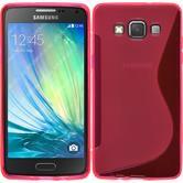 Silikon Hülle Galaxy A5 (A500) S-Style pink + 2 Schutzfolien