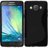 Silikon Hülle Galaxy A5 (A500) S-Style schwarz + 2 Schutzfolien