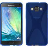 Silikon Hülle Galaxy A5 (A500) X-Style blau + 2 Schutzfolien