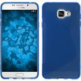 Silikon Hülle Galaxy A7 (2016) A710 S-Style blau + 2 Schutzfolien