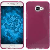 Silikon Hülle Galaxy A7 (2016) A710 S-Style pink + 2 Schutzfolien