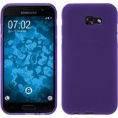 Silikon Hülle Galaxy A7 (2017) matt lila + 2 Schutzfolien