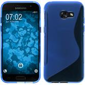 Silikon Hülle Galaxy A7 (2017) S-Style blau + 2 Schutzfolien