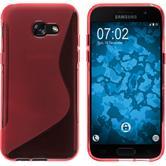 Silikon Hülle Galaxy A7 (2017) S-Style rot + 2 Schutzfolien