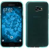 Silikon Hülle Galaxy A7 (2017) transparent türkis + 2 Schutzfolien
