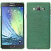 Silikon Hülle Galaxy A7 (A700) brushed grün + 2 Schutzfolien