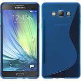 Silikon Hülle Galaxy A7 (A700) S-Style blau + 2 Schutzfolien
