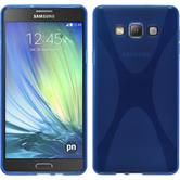 Silikon Hülle Galaxy A7 (A700) X-Style blau + 2 Schutzfolien