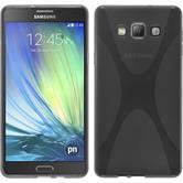 Silikon Hülle Galaxy A7 (A700) X-Style grau + 2 Schutzfolien