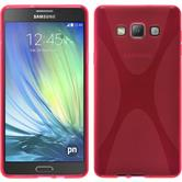 Silikon Hülle Galaxy A7 (A700) X-Style pink + 2 Schutzfolien