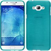 Silikon Hülle Galaxy A8 (2015) brushed blau + 2 Schutzfolien