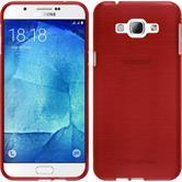 Silikon Hülle Galaxy A8 (2015) brushed rot + 2 Schutzfolien
