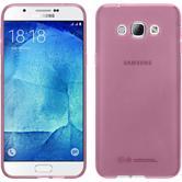 Silikon Hülle Galaxy A8 (2015) transparent rosa + 2 Schutzfolien