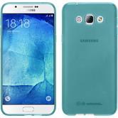 Silikon Hülle Galaxy A8 (2015) transparent türkis + 2 Schutzfolien