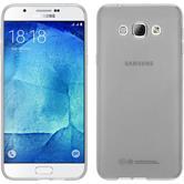 Silikon Hülle Galaxy A8 (2015) transparent weiß + 2 Schutzfolien