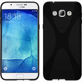Silikon Hülle Galaxy A8 (2015) X-Style schwarz + 2 Schutzfolien