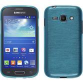 Silikon Hülle Galaxy Ace 3 brushed blau + 2 Schutzfolien