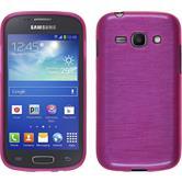 Silikon Hülle Galaxy Ace 3 brushed pink + 2 Schutzfolien