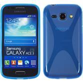 Silikon Hülle Galaxy Ace 3 X-Style blau + 2 Schutzfolien