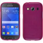 Silicone Case for Samsung Galaxy Ace 4 brushed hot pink