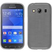 Silikon Hülle Galaxy Ace 4 brushed weiß + 2 Schutzfolien