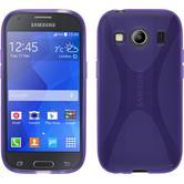 Silikon Hülle Galaxy Ace 4 X-Style lila + 2 Schutzfolien