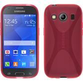 Silikon Hülle Galaxy Ace 4 X-Style pink + 2 Schutzfolien