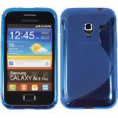 Silikon Hülle Galaxy Ace Plus S-Style blau + 2 Schutzfolien