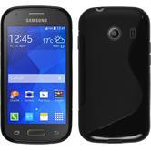 Silikon Hülle Galaxy Ace Style S-Style schwarz + 2 Schutzfolien