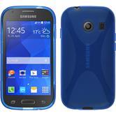 Silikon Hülle Galaxy Ace Style X-Style blau + 2 Schutzfolien