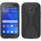 Silikon Hülle Galaxy Ace Style X-Style grau + 2 Schutzfolien