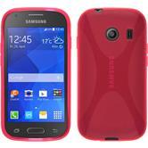 Silikon Hülle Galaxy Ace Style X-Style pink + 2 Schutzfolien