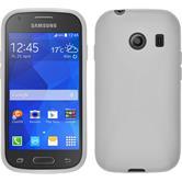 Silikon Hülle Galaxy Ace Style X-Style weiß + 2 Schutzfolien