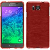 Silikon Hülle Galaxy Alpha brushed rot + 2 Schutzfolien