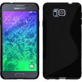 Silikon Hülle Galaxy Alpha S-Style schwarz + 2 Schutzfolien