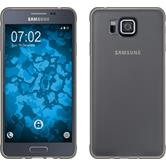 Silikon Hülle Galaxy Alpha Slimcase grau + 2 Schutzfolien