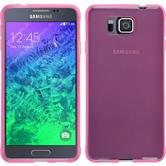 Silikon Hülle Galaxy Alpha transparent rosa + 2 Schutzfolien
