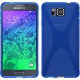 Silikon Hülle Galaxy Alpha X-Style blau + 2 Schutzfolien