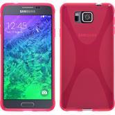 Silikon Hülle Galaxy Alpha X-Style pink + 2 Schutzfolien