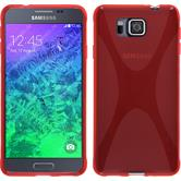 Silikon Hülle Galaxy Alpha X-Style rot + 2 Schutzfolien
