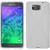 Silikon Hülle Galaxy Alpha X-Style weiß + 2 Schutzfolien