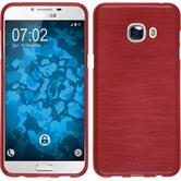Silikon Hülle Galaxy C5 brushed rot + 2 Schutzfolien
