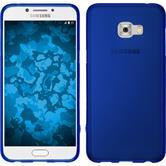Silikon Hülle Galaxy C5 Pro matt blau + 2 Schutzfolien