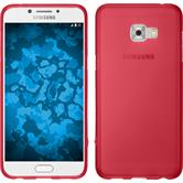 Silikon Hülle Galaxy C5 Pro matt rot + 2 Schutzfolien